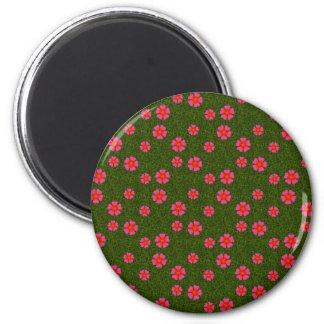 Magenta floral pattern refrigerator magnet