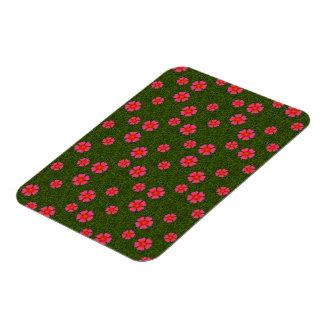 Magenta floral pattern vinyl magnets