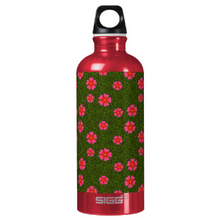 Magenta floral pattern water bottle