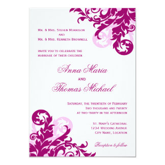 Magenta Flourish Wedding Invitation