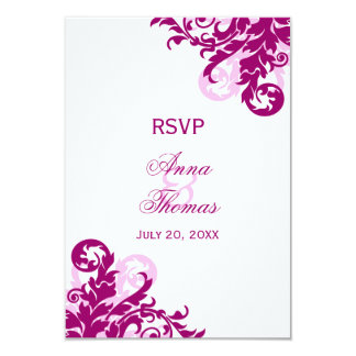 Magenta Flourish Wedding RSVP Cards