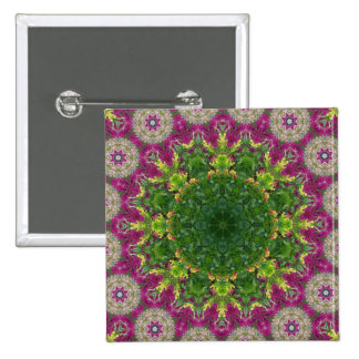 Magenta Flowers Circles Mandala Pins