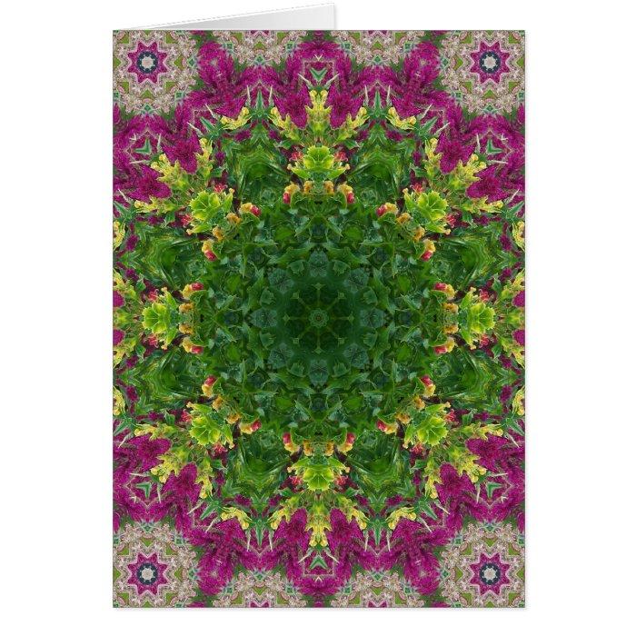 Magenta Flowers Circles Mandala Card