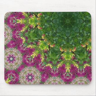 Magenta Flowers Circles Mandala Mouse Pad