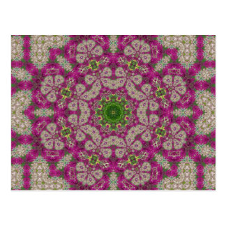 Magenta Flowers Lace Mandala Post Card