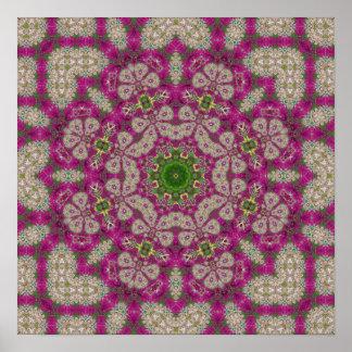 Magenta Flowers Lace Mandala Poster