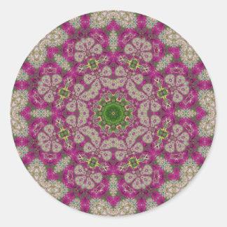 Magenta Flowers Lace Mandala Round Stickers