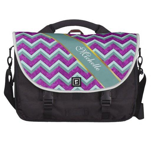 Magenta Foil and Teal ZigZag Pattern Bag For Laptop
