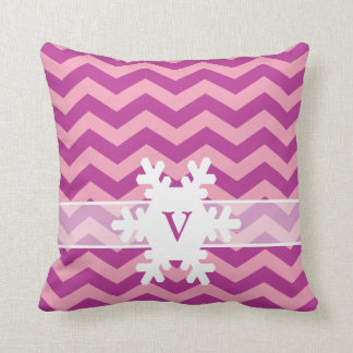 Magenta Frosted Orchid Chevrons with Snowflake Throw Pillow