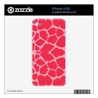 Magenta Giraffe Print iPhone 4 Skin