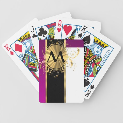 Magenta gold and black monogram bicycle playing cards