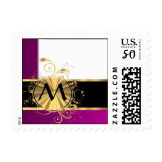 Magenta gold and black monogram postage
