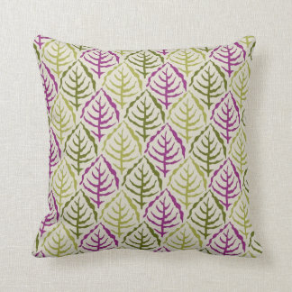 Magenta Green Abstract Leaf Pattern Throw Pillow