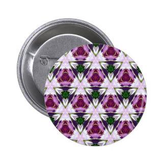Magenta Green Burgandy Geomettic Chic Pattern Pinback Button