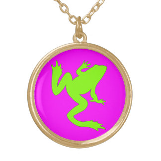 Magenta Green Frog Necklace Gold Finish