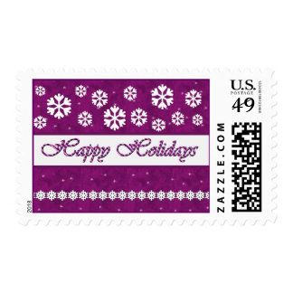 MAGENTA Happy Holidays Candy Cane & Snowflakes Stamps