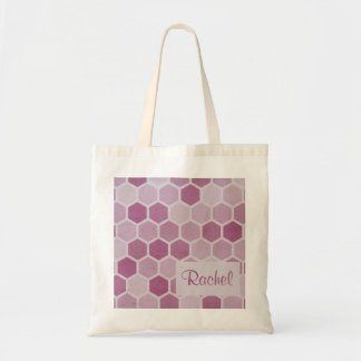 Magenta Hexagons Monogram Tote