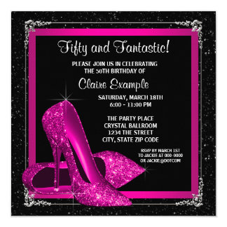 Magenta High Heel Shoes Birthday Party Card