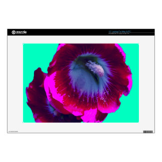"""Magenta Hollyhock on turquoise by SHARLES Skin For 15"""" Laptop"""