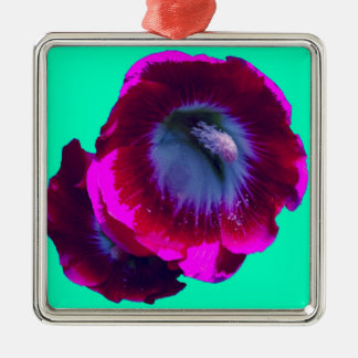 Magenta Hollyhock on turquoise by SHARLES Square Metal Christmas Ornament