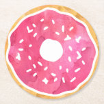 """Magenta Hot Pink Donut Coasters<br><div class=""""desc"""">Indulge your sweet tooth! Features a fun pink donut illustration in watercolor. More colors available – check out our shop!</div>"""