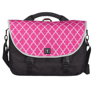 Magenta. Hot Pink. Fuchsia And White Moroccan Commuter Bags