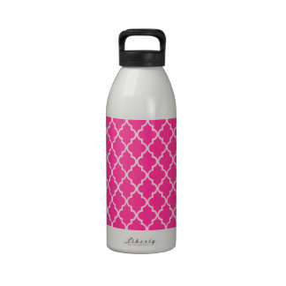 Magenta Hot Pink Fuchsia And White Moroccan Reusable Water Bottles