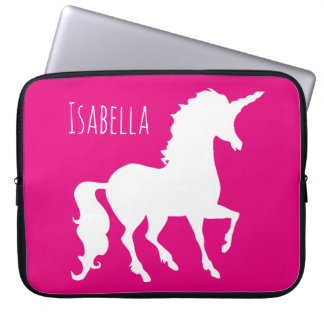 Magenta Hot Pink Unicorn Silhouette Personalized Laptop Sleeve