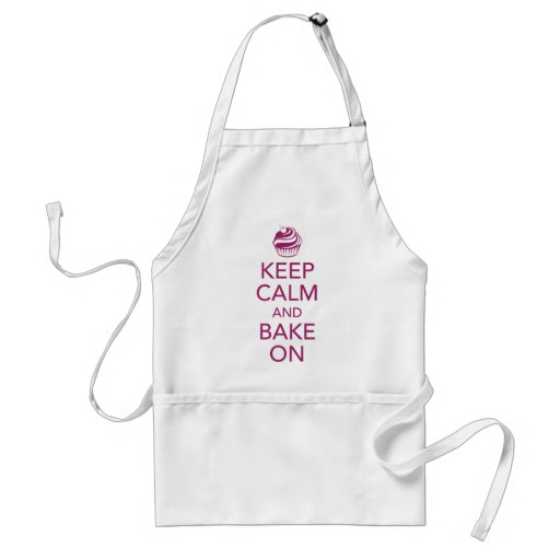 Magenta Keep Calm and Bake On Apron