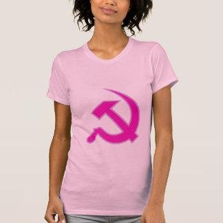 Magenta & Lilac Hammer & Sickle on Women's T-shirt