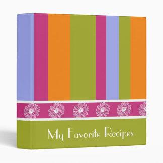 Magenta Lime Stripes Recipe Book Binder
