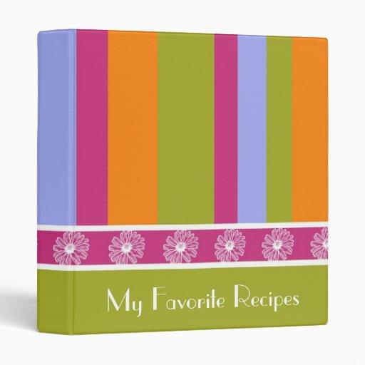 Magenta Lime Stripes Recipe Book Binders