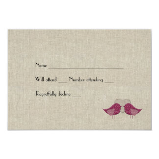 Magenta Love Birds Linen Look rsvp with envelopes Card