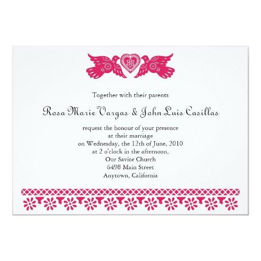 "Magenta Love Birds Papel Picado Banner Invitation 5"" X 7"" Invitation Card"