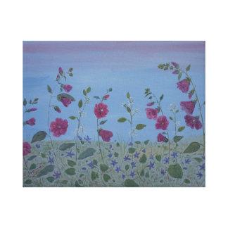 Magenta Mallow Modern Flower art Canvas Print