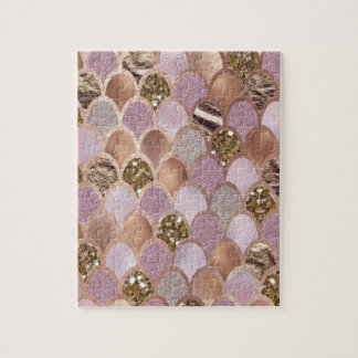 Magenta mermaid scales - turkish delight rose gold jigsaw puzzle