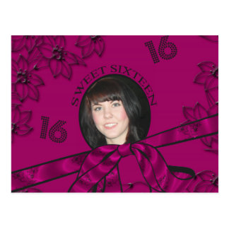 Magenta Metallic With Flowers Sweet 16 Add Photo Postcard
