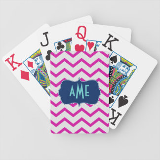 Magenta Mint Chevron Playing Cards