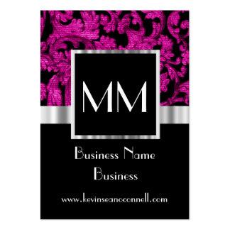 Magenta monogrammed damask large business cards (Pack of 100)