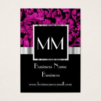 Magenta monogrammed damask business card