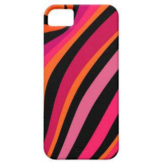 Magenta, naranja, rosa y rayas negras iPhone 5 funda