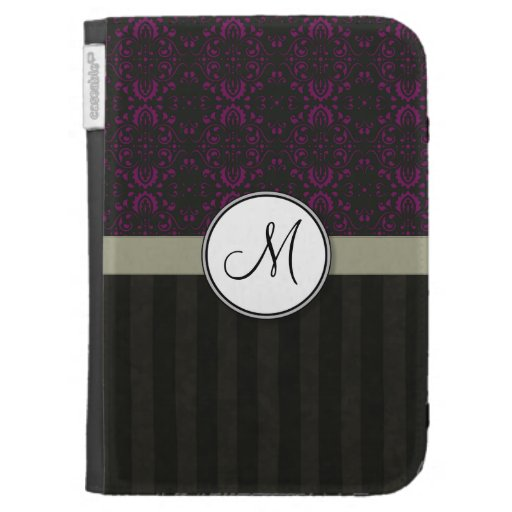Magenta on Black Damask with Stripes and Monogram Kindle 3G Covers