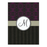 Magenta on Black Damask with Stripes and Monogram 5.5x7.5 Paper Invitation Card