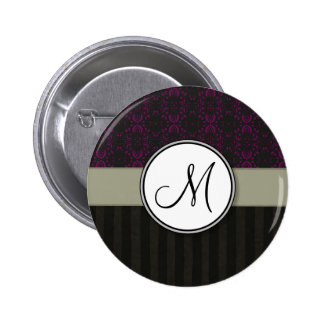 Magenta on Black Damask with Stripes and Monogram Pinback Button