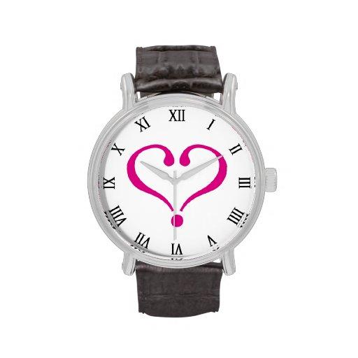 Magenta open heart of love forever in Valentine's Reloj