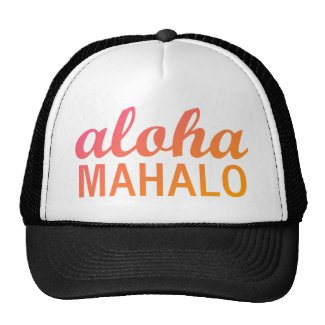 Magenta Orange Gradient Aloha Mahalo Typography