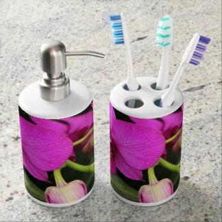 Magenta Orchid Toothbrush Holder & Soap Dispenser