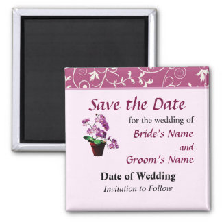 Magenta Orchids in Flowerpot Save the Date Refrigerator Magnets