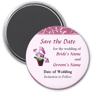 Magenta Orchids in Flowerpot Save the Date Magnet