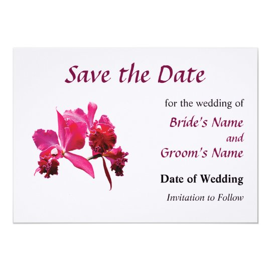 Magenta Orchids Save the Date Card